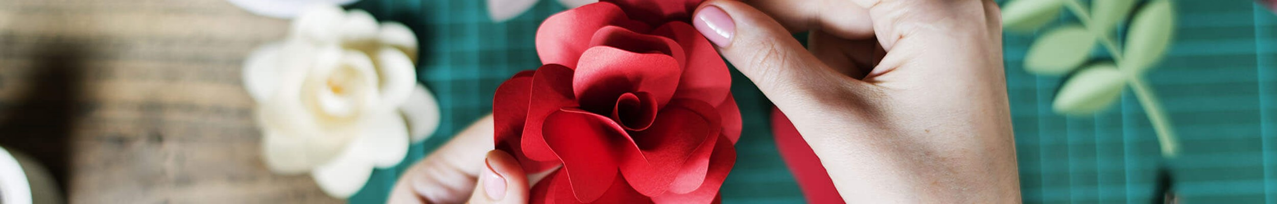 Crafting a red flower