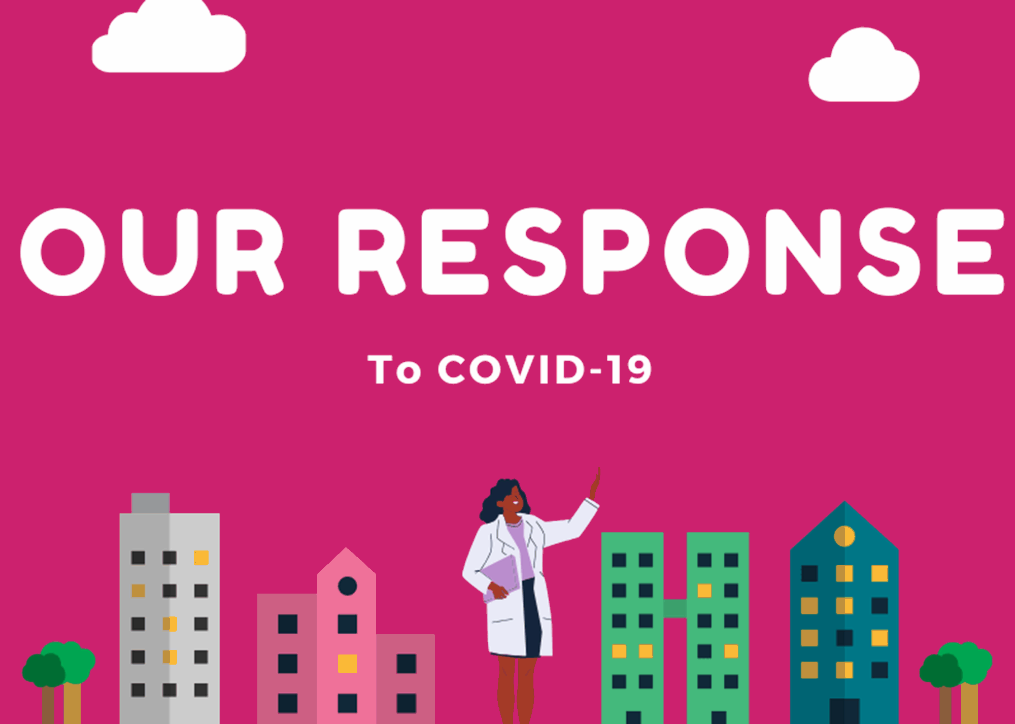 A graphic depicting the words 'our response to Covid-19'