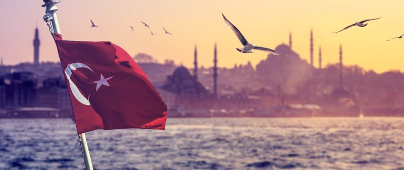 Turkish flag and coastline